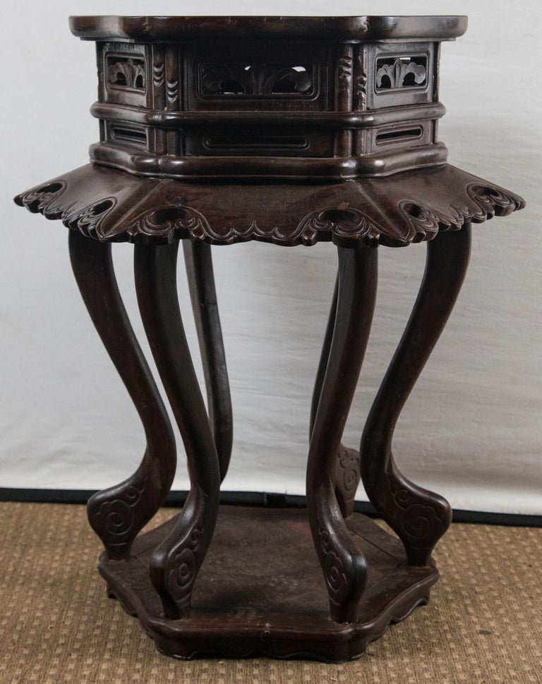 Hand-Carved Pair of Chinese Rosewood End Tables For Sale
