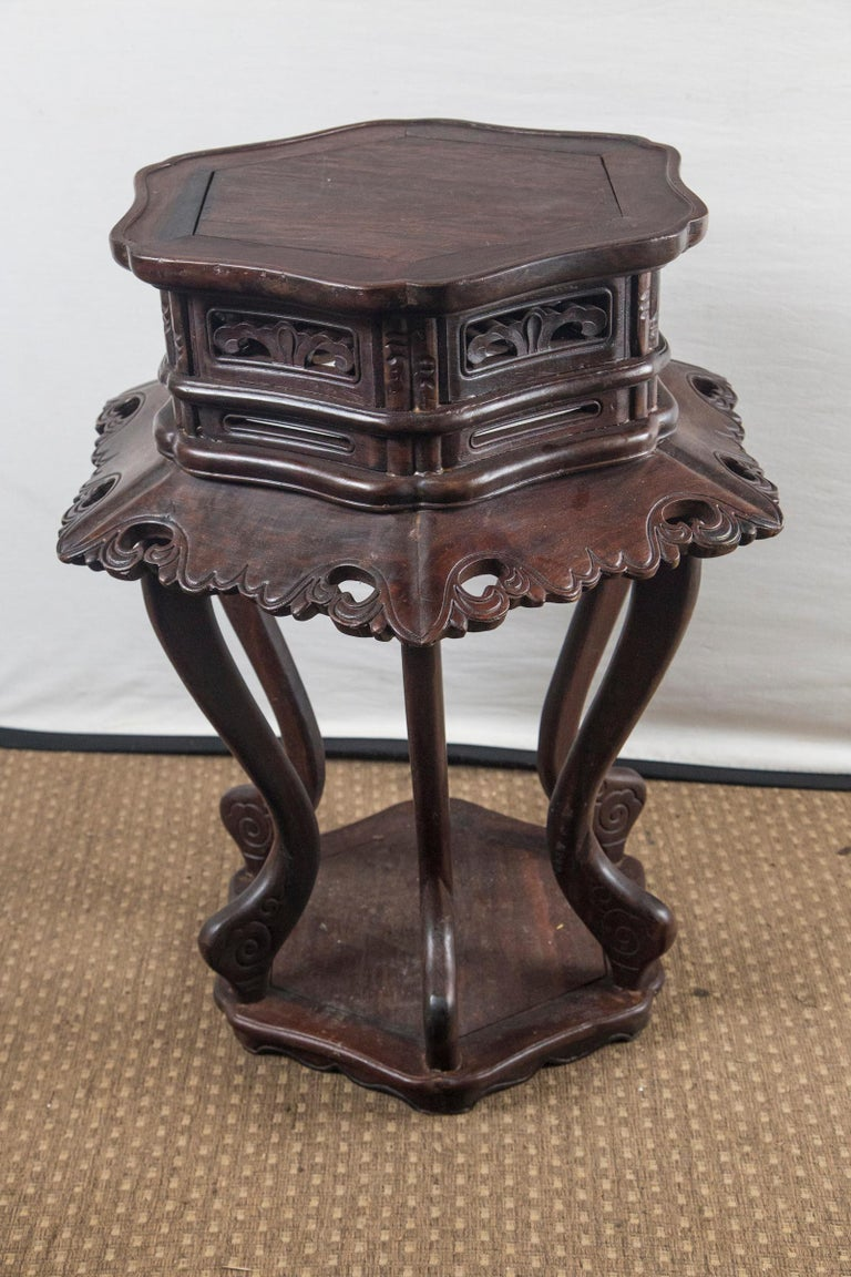 Pair of Chinese Rosewood End Tables For Sale 4