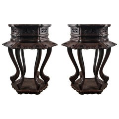 Pair of Chinese Rosewood End Tables
