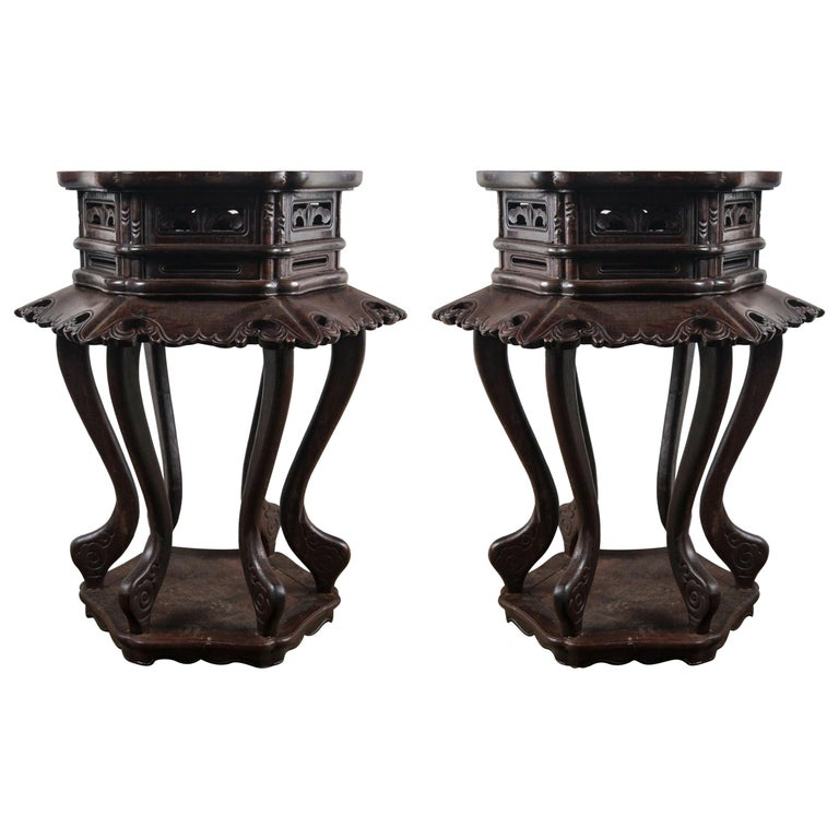 Pair of Chinese Rosewood End Tables For Sale