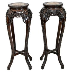 Pair of Chinese Rosewood Stands
