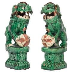 Pair of Chinese Sancai Altar Fu Dogs, c. 1900