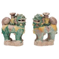 Pair of Chinese Sancai Fu Dog Incense Burners, c. 1850