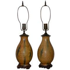 Pair of Chinese Sancai Style Glazed Ceramic Lamps, circa 1940s