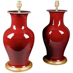 Pair of Chinese Sang De Boeuf Table Lamps