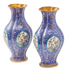Pair of Chinese Shaped Cloisonné Blue Enamel Vases, circa 1920