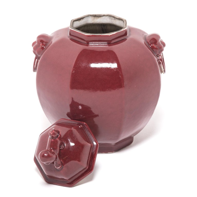 Porcelain Pair of Chinese Shizi Hong Ginger Jars For Sale