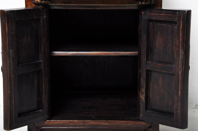 Pair of Chinese Side Cabinets with Two Drawers and a Pair of Doors For Sale 7