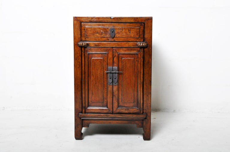 Pair of Chinese Side Cabinets with Two Drawers and a Pair of Doors For Sale 8