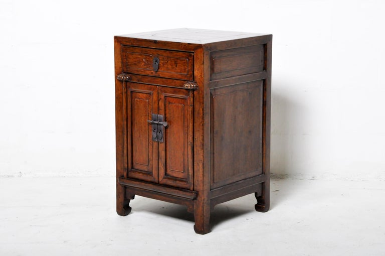 Pair of Chinese Side Cabinets with Two Drawers and a Pair of Doors For Sale 12