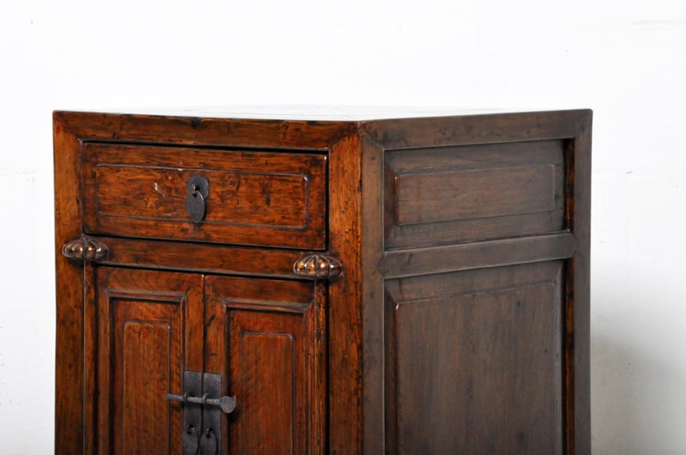 Pair of Chinese Side Cabinets with Two Drawers and a Pair of Doors For Sale 13