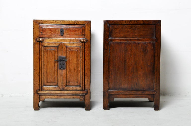 Pair of Chinese Side Cabinets with Two Drawers and a Pair of Doors In Good Condition For Sale In Chicago, IL