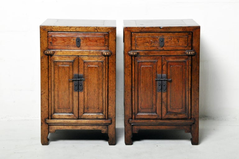 Burl Pair of Chinese Side Cabinets with Two Drawers and a Pair of Doors For Sale