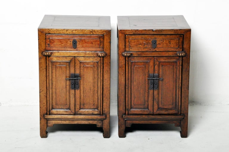 Pair of Chinese Side Cabinets with Two Drawers and a Pair of Doors For Sale 1