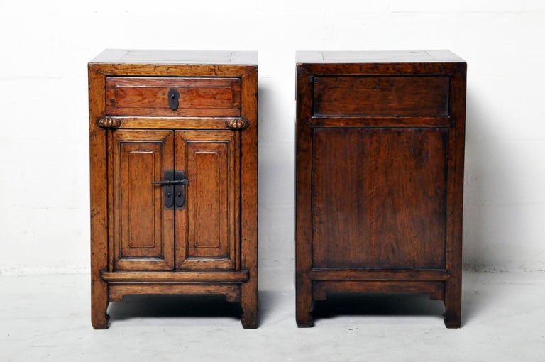 Pair of Chinese Side Cabinets with Two Drawers and a Pair of Doors For Sale 2