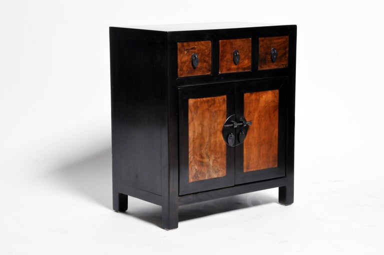 Contemporary Pair of Chinese Side Tables with Three Drawers and a Shelf For Sale