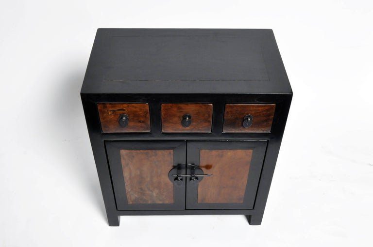 Pair of Chinese Side Tables with Three Drawers and a Shelf For Sale 1