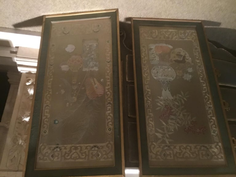 Pair of Chinese Silk Embroidered Panels, Early 20th Century For Sale 4
