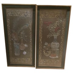 Pair of Chinese Silk Embroidered Panels, Early 20th Century