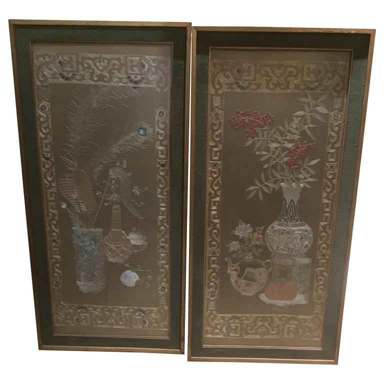 Pair of Chinese Silk Embroidered Panels, Early 20th Century For Sale