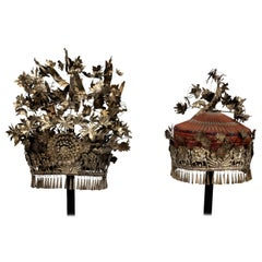 Pair of Chinese Silver Bridge and Groom Ceremonial Headdresses