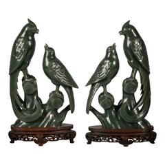 Pair of Chinese Spinach Green Jade Bird Groups, circa 1880