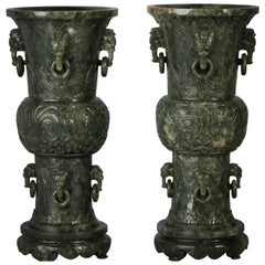 Pair of Chinese Spinach Jade Beaker Vases on Stands, 19th Century