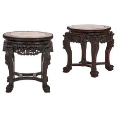 Pair of Chinese Stained Hardwood and Marble Pedestals