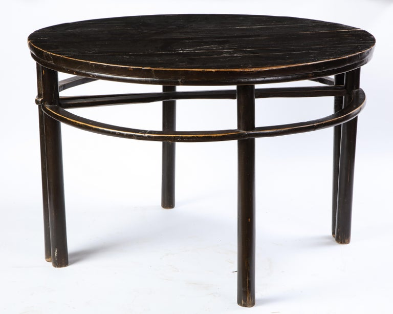 Pair of Chinese Stained Soft Wood Demilune Side Tables, 20th Century For Sale 10