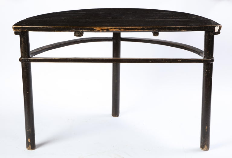 Pair of Chinese Stained Soft Wood Demilune Side Tables, 20th Century For Sale 12