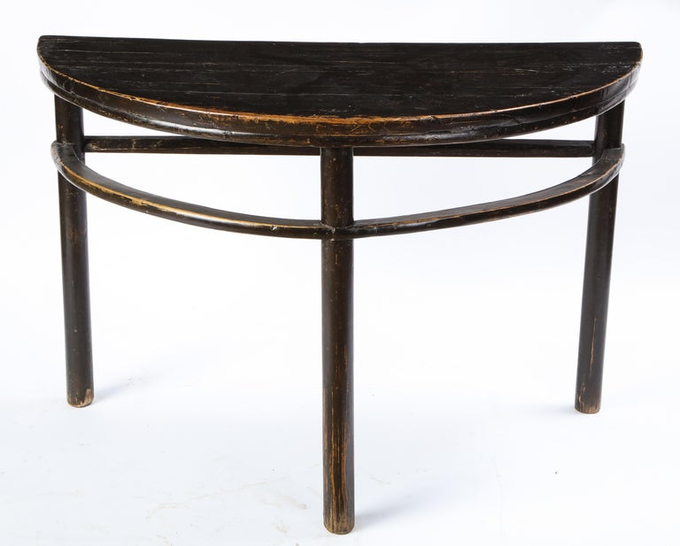 Pair of Chinese Stained Soft Wood Demilune Side Tables, 20th Century For Sale 14