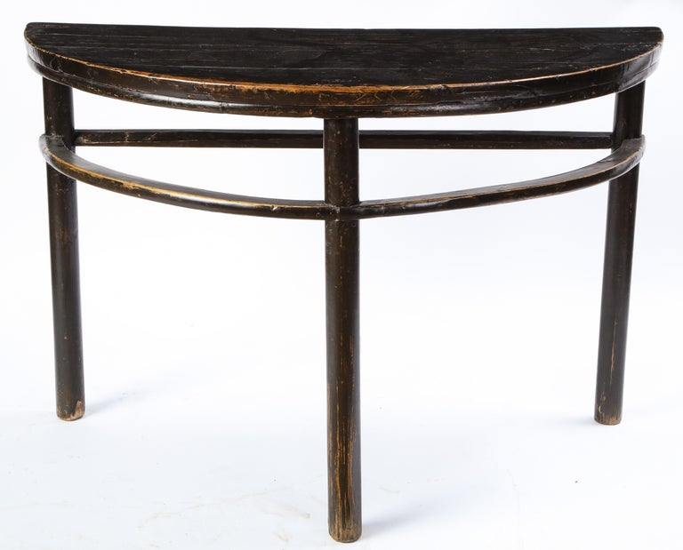 Pair of Chinese Stained Soft Wood Demilune Side Tables, 20th Century For Sale 15