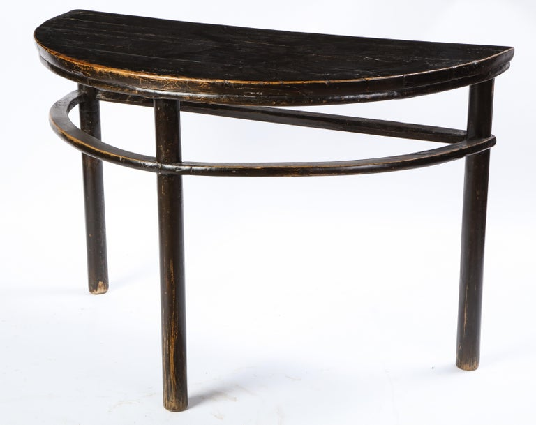 Pair of Chinese Stained Soft Wood Demilune Side Tables, 20th Century For Sale 16