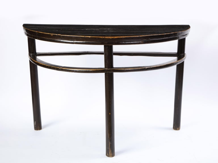 Pair of Chinese Stained Soft Wood Demilune Side Tables, 20th Century In Good Condition For Sale In New York, NY