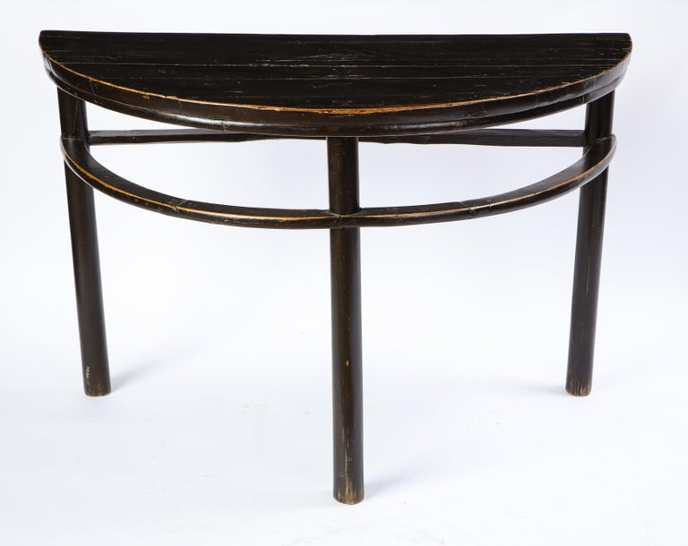 Pair of Chinese Stained Soft Wood Demilune Side Tables, 20th Century For Sale 2