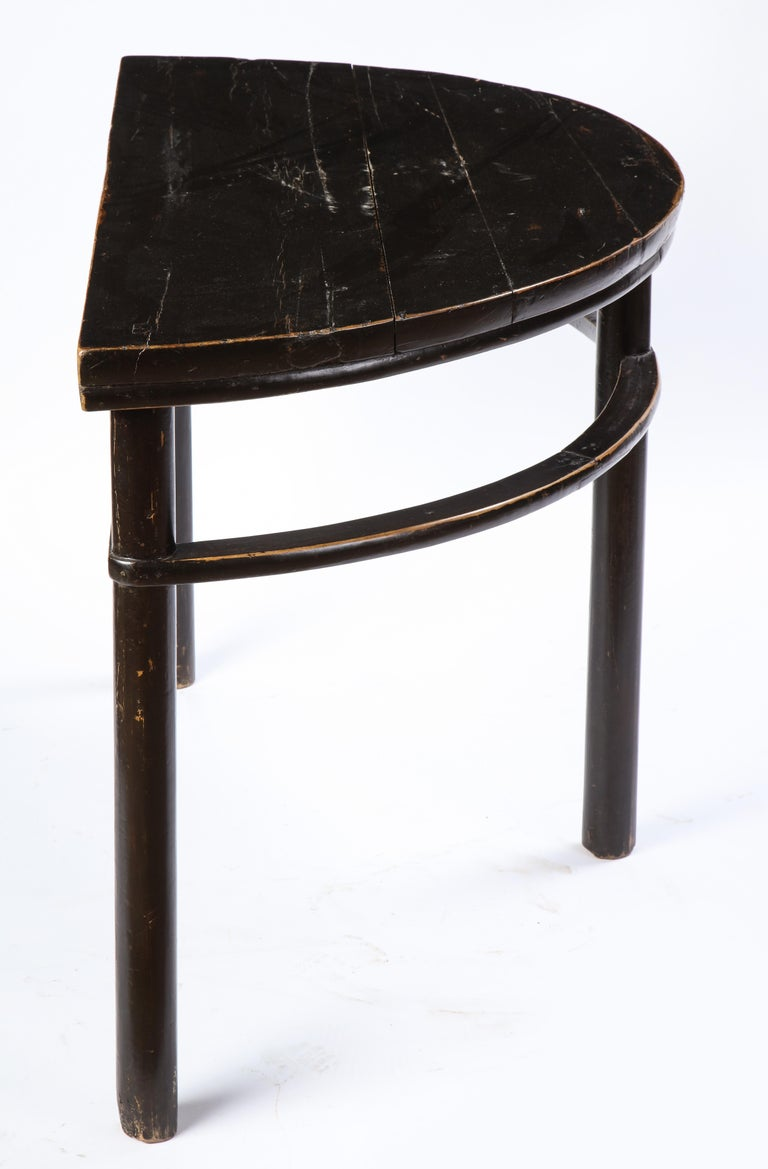 Pair of Chinese Stained Soft Wood Demilune Side Tables, 20th Century For Sale 1