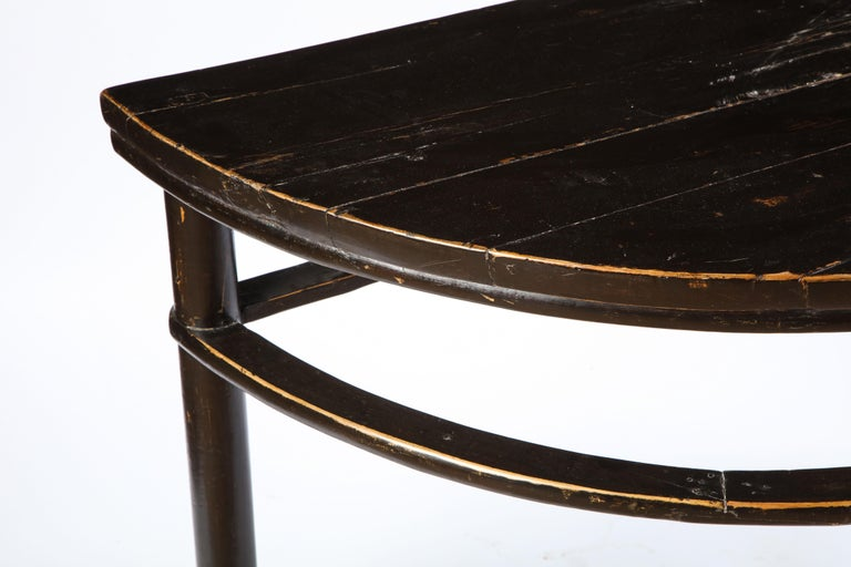 Pair of Chinese Stained Soft Wood Demilune Side Tables, 20th Century For Sale 5