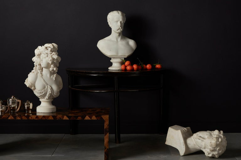 Pair of Chinese Stained Soft Wood Demilune Side Tables, 20th Century For Sale 4