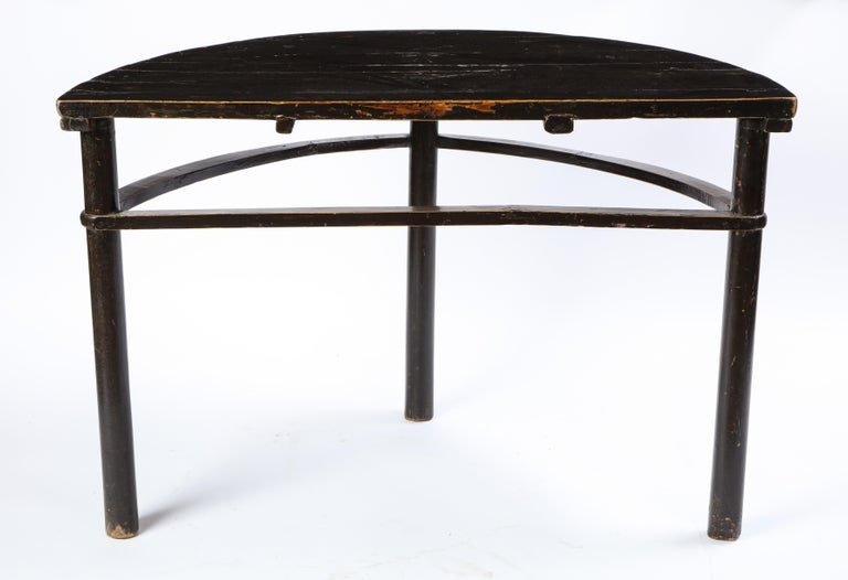 Pair of Chinese Stained Soft Wood Demilune Side Tables, 20th Century For Sale 6