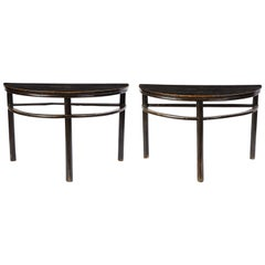 Pair of Chinese Stained Soft Wood Demilune Side Tables, 20th Century