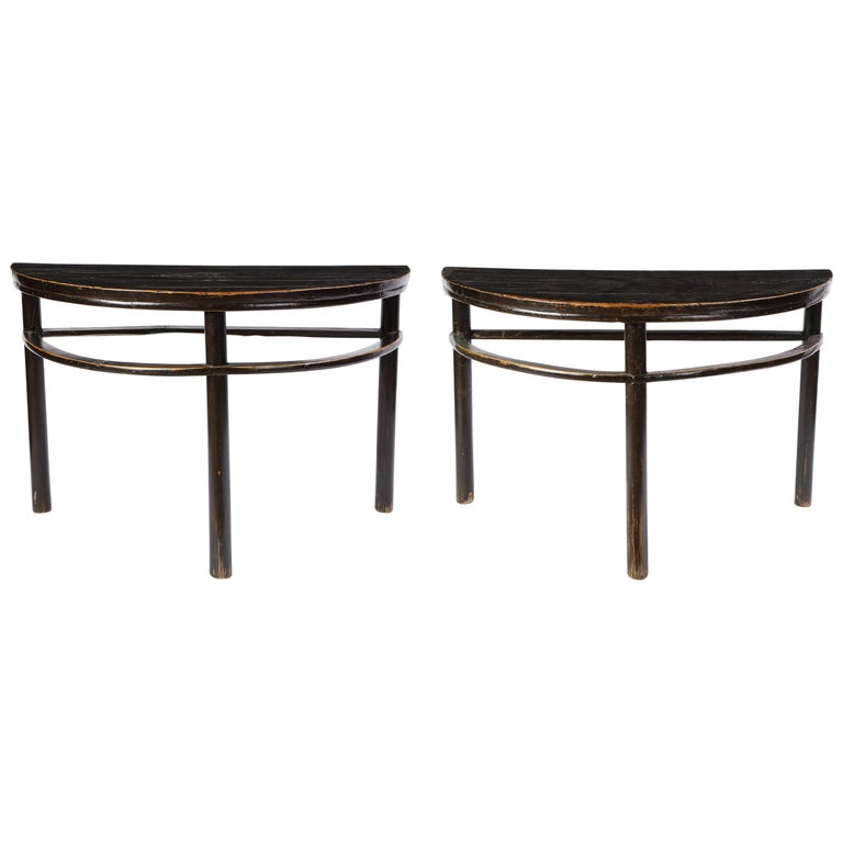 Pair of Chinese Stained Soft Wood Demilune Side Tables, 20th Century For Sale