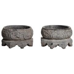 Pair of Chinese Stone Basins