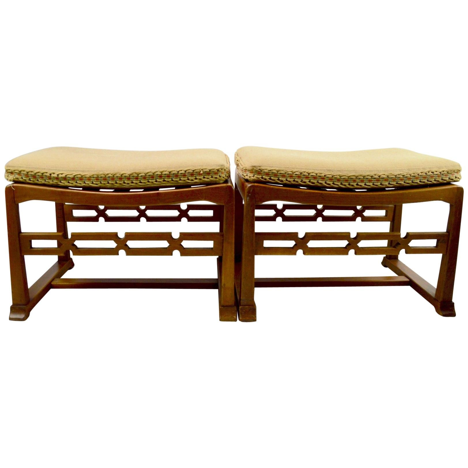 Pair of Chinese Style Asia Modern Stool, Bench, Footrest, Ottomans