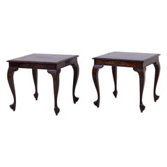 Pair of Chinese Style End Tables in Mahogany and Gilt Brass, Early 20th Century