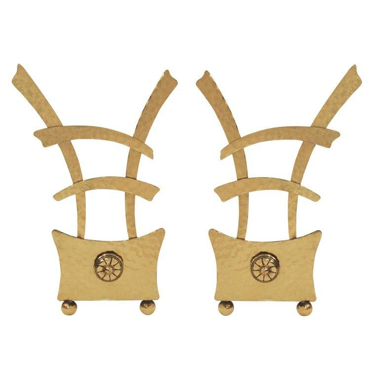 Pair of Chinese Style Modernist Andirons In Excellent Condition For Sale In New York, NY
