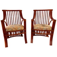 Pair of Chinese Style Red Lacquer Rattan Chairs Attributed to Roche Bobois