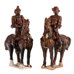 Pair of Chinese Tang Style Mantle Figurines