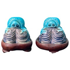 Pair of Chinese Turquoise/Purple Porcelain Crabs on Wooden Stands, Marked China