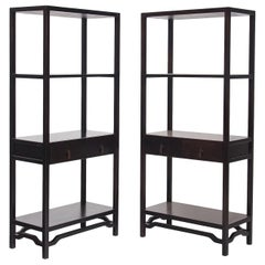 Pair of Chinese Two-Drawer Studio Shelves