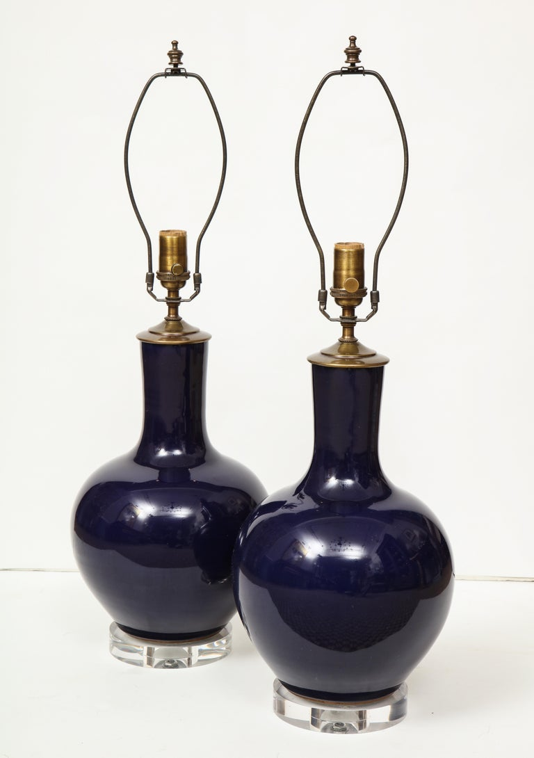 Ceramic Pair of Chinese Vase Lamps For Sale